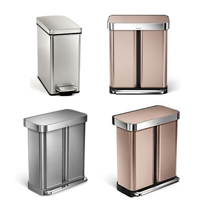 Simple Human Pedal Bins Stainless Steel Single&Dual Compartment Recycle10&58 Ltr