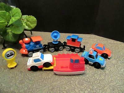 Fisher Price Preschool Train & Cars Lot 1992 Vintage 9 pieces