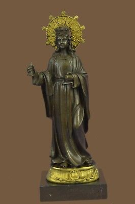 Bronze Sculpture Statue VINTAGE GILT FRENCH GOLD VIRGIN MARY / MADONNA HOLY HOME