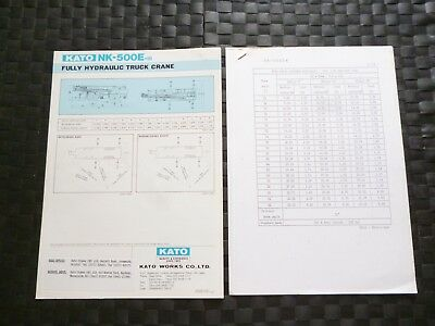 Kato Nk-500E-Iii Fully Hydraulic Truck Crane Specification Leaflet *As Pictures*