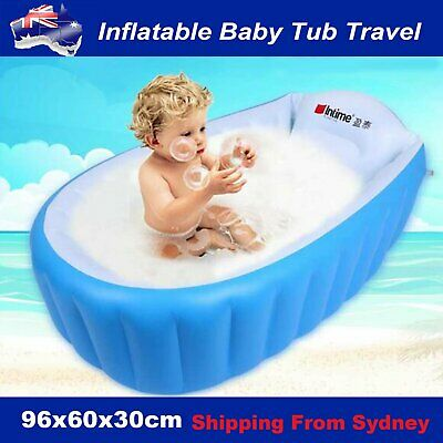 Blue Inflatable Baby Tub Travel Bath Child Newborn Swimming Shower Kids Bathtub