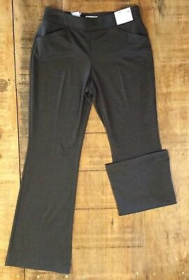 NEW YORK & CO Women's Sz M Gray City Knit Pull On Bootcut Pants Mid Rise Stretch