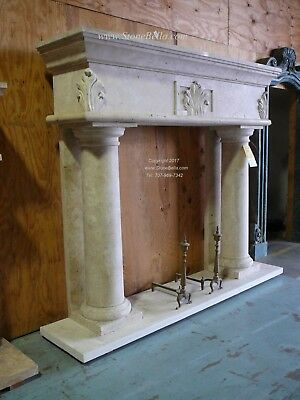 ABSOLUTELY STUNNING - HUGE Hand carved Travertine Mantel – Column Stone Mantle