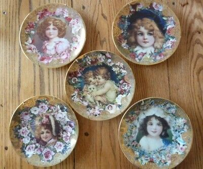 Romantic Victorian Keepsakes Plate Collection 1992 Lot Of Five With Hangars