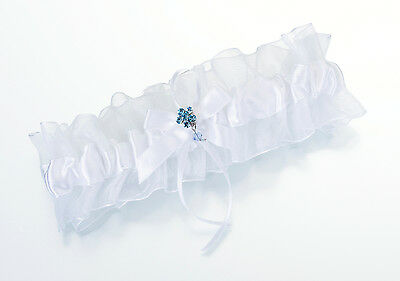 White Sheer and Satin Wedding Bridal Garter with Something Blue Flower