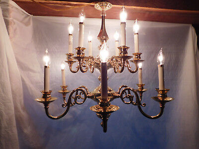 Stately vintage solid brass chandelier huge! estate ceiling fixture light stairs