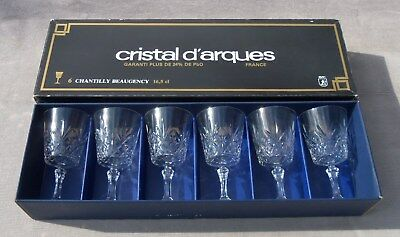 Set 6 Hand cut Leaded French Crystal WINE GLASSES CHANTILLY d'Arques Excellent