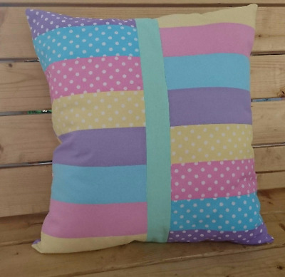 Handmade pastel polka dot cushion, pillow, throw, gift