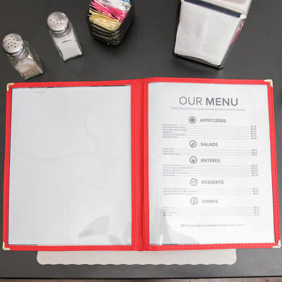"50 PACK 8 1/2"" x 11"" Red Vinyl 2 Pocket Clear Menu Cover Restaurant Bar Case"