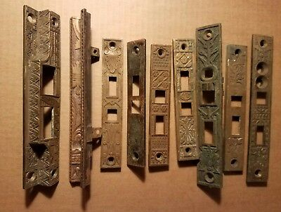 DOOR Hardware  BRASS Jam Plates Antique Victorian Deco LOT(9) USA Mission Style