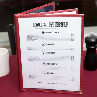"50 CASE 8 1/2"" x 11"" Burgundy Vinyl Three Pocket Clear Restaurant Menu Cover"