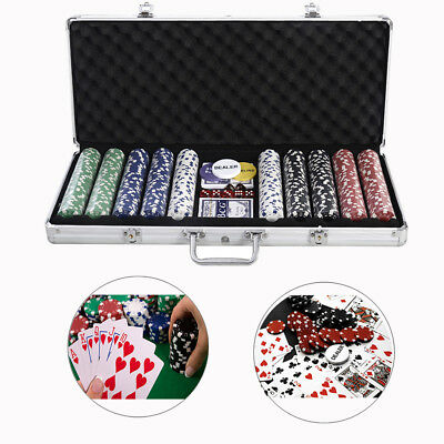 Pro Poker Chips Set 500 w/Clay Aluminum Carry Case,Card,Texas Holdem Poker,Dices