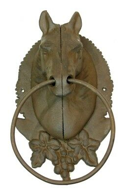 Cast Iron -Horse Head Towel Ring Holder / Hitching Post Western Decor