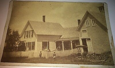 Rare Antique Victorian American New England Homestead, Drummer Boy Cabinet Photo