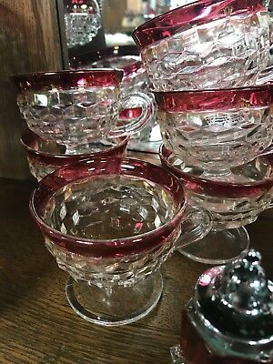 Vintage Indiana Glass Diamond Point Ruby Flash Punch Bowl Cups