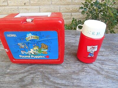 Pound Puppies Plastic Lunch Box With Thermos