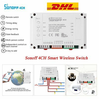 Sonoff 4CH 4 Way Smart Fernbedienung Wireless Timer Wifi Switch for iOS Android