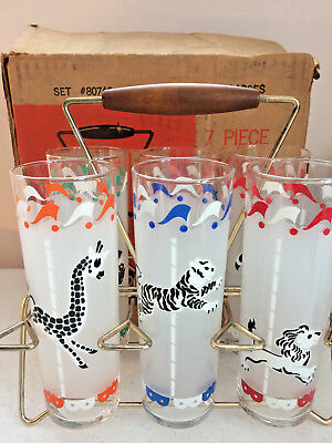 Rare Vintage 6pc Libbey Merry Go Round Caddy Drinking Glasses Animals Carousel