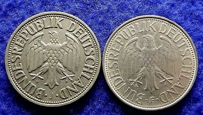 1950-J & 1976-F GERMANY 1 Deutsche Mark - 2 Fine Coins (#1691)