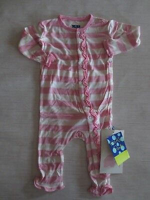 Kickee Pants Muffin Ruffle Coverall - Lotus Stripe 0-12 Months