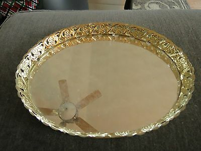 Vintage Brass Oval Faced Mirrored Vanity Boudoir Tray Felt Back EUC Estate Piece