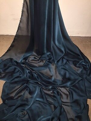 "1 Mtr Teal Cationic Two Tone Sheer Bridal,dress Chiffon Fabric ..58"" Wide"
