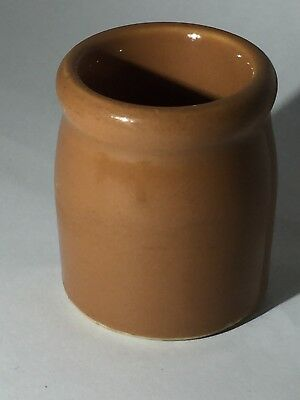 """Hall Ceramic Toothpick Holder Brown Glazed Made in USA 1.75"""" x 1.25"""" Preowned"""
