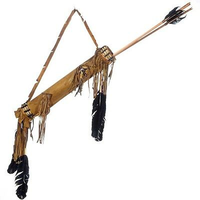 Native made Plains Indian Style Quiver Arrows Set Medicine Wheel & Bag by Bitsui