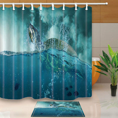Ocean Animal Turtle In Sea Bathroom Shower Curtain Set Fabric &12 Hooks 71 Inch