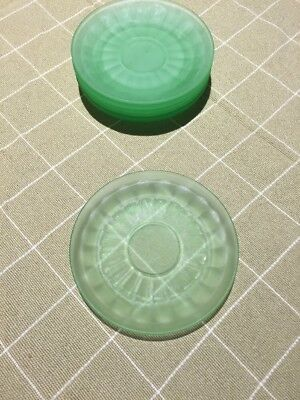 Green Frosted Block Optic Saucer-Hocking Glass