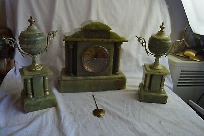 3 Pc Antique French Medaille D Argent Green Onyx Mantle Clock Set Marble Urn