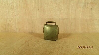 "Vintage Antiques Hand Forged Brass Plate Metal Goat Cow Bell 2 1/4"" W x 2 3/4"" H"