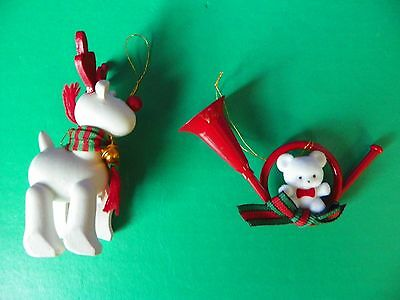 Avon Gift Collection Teddy Bear and Belvedeer Reindeer Christmas Ornaments