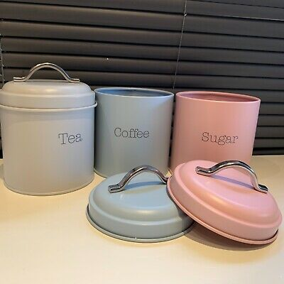 SET OF 3 TEA COFFEE SUGAR CANISTERS Tins vintage kitchen storage jars pot set