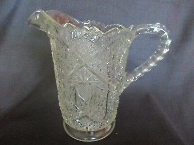 Antique Hobnail Pressed Glass Large Jug / Large Pressed Glass Jug