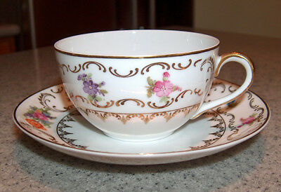 p7543: Antique Dresden Cup and Saucer Set Winterling Baveria Germany Floral