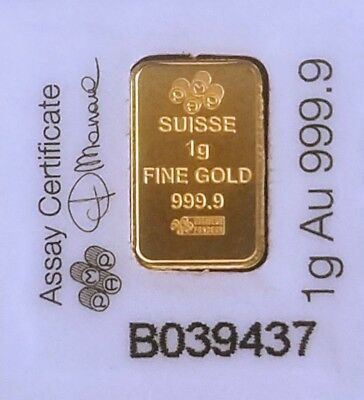 Pamp Suisse 1.0 Gram Gold Bar .9999 Pure Gold (Factory Sealed Assay Card)