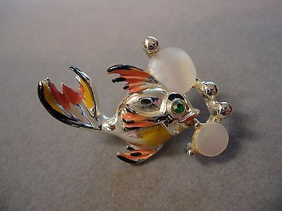 Vintage Enamel Rhinestone Mother of Pearl Gold Fish with Bubbles Brooch Pin