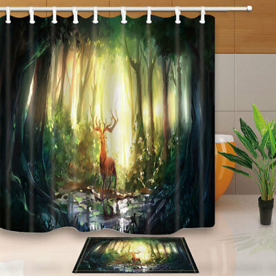 Elk Wandering In Deep Forest Bathroom Shower Curtain Set Fabric & 12 Hooks 71""