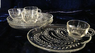 Vintage Federal Homestead 8pc Snack Set Clear Glass IOB