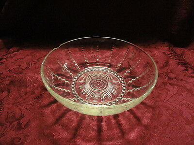 """Vintage Columbia Depression Clear Glass Bowl 8 ½"""""""