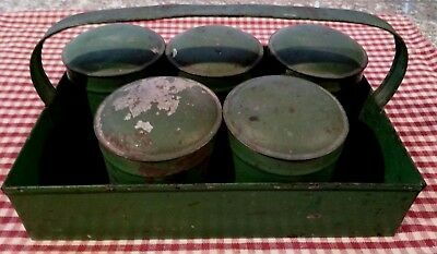 Rare!!  Vintage Farmhouse 5 Piece Green Metal Spice Canisters w/Caddy & Lids