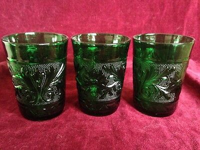 3 Vintage Anchor Hocking Emerald Green Sandwich Glass Juice Glasses