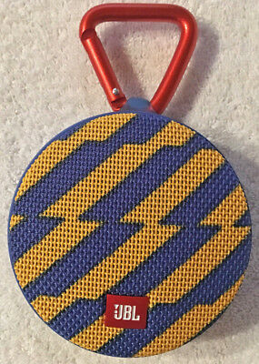 JBL Clip 2 Portable Bluetooth Speaker Blue Yellow Tested VG Working Condition