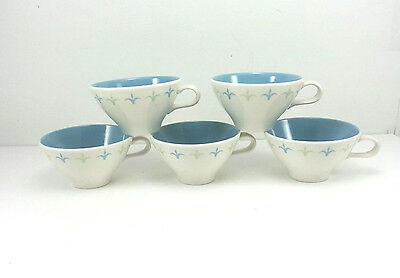 Ben Siebel Informal True China By Iroquois Coffee Cups Blue Green Lot Of 5 VTG