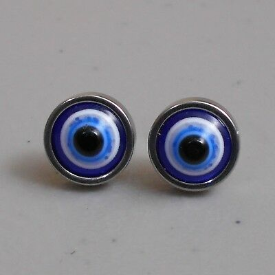 Stainless Steel Evil Eye Amulet Stud Earrings with Extra Pair of Backs