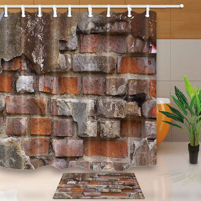 Shabby Brick Wall Decor Bathroom Shower Curtain Set Fabric &12 Hooks 71 Inches