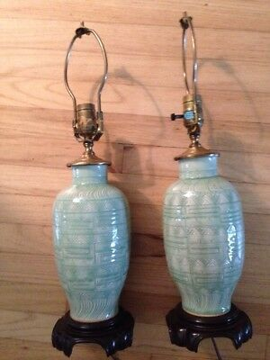 Pair of Chinese Mid Century Celadon Glazed Porcelain Lamps Asian Elephant Motif