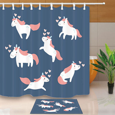 Cute Small Cartoon Unicorn Pattern Bathroom Shower Curtain Set Fabric & Hook 71""