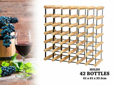 1 wooden wine rack holds 42 bottles natural wood colour